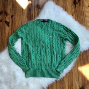 Vineyard Vines Cable Knit Green Sweater Small